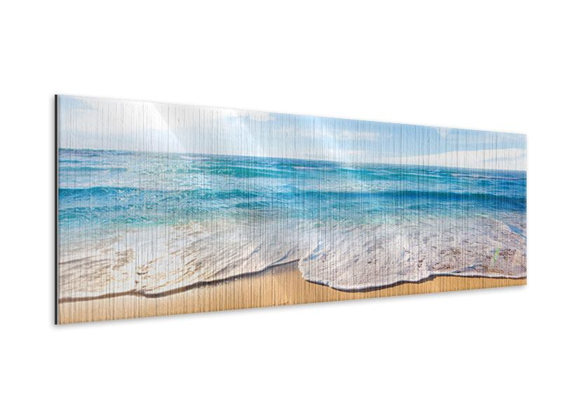 Metallic-Bild Panorama Spuren im Sand