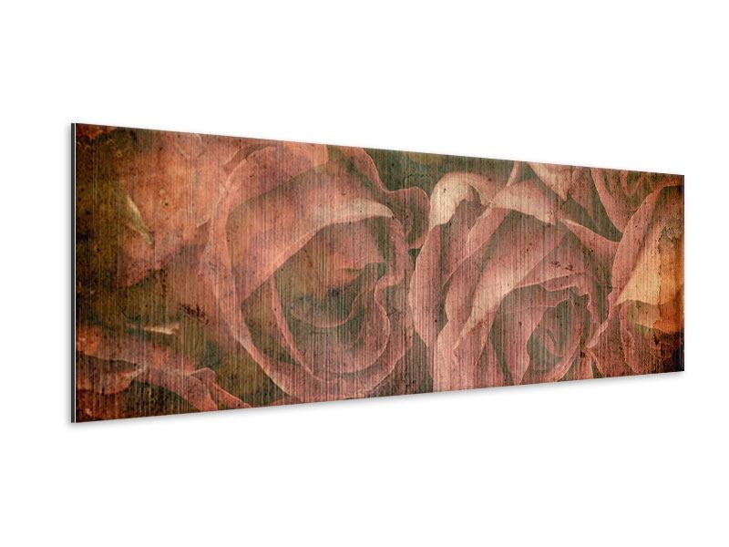 Metallic-Bild Panorama Rosenbukett