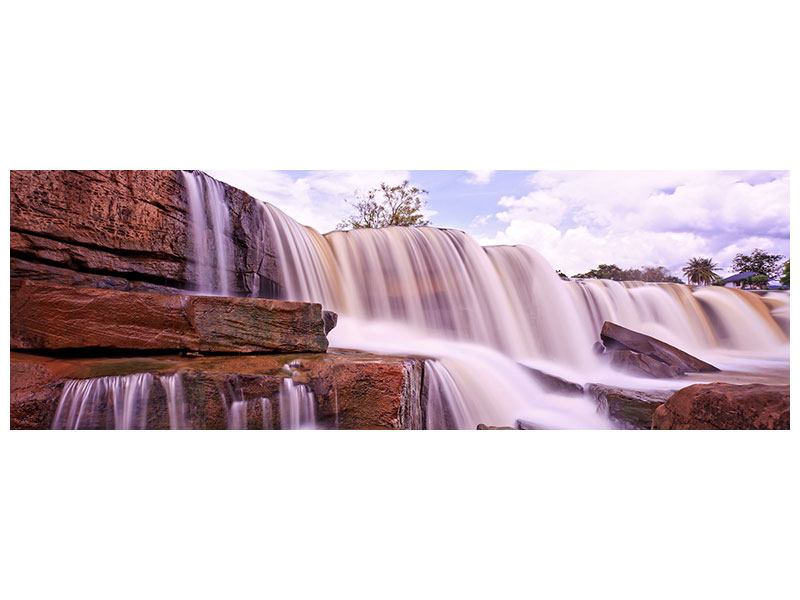 Metallic-Bild Panorama Himmlischer Wasserfall