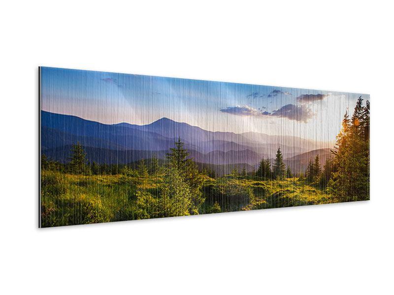 Metallic-Bild Panorama Friedliche Landschaft