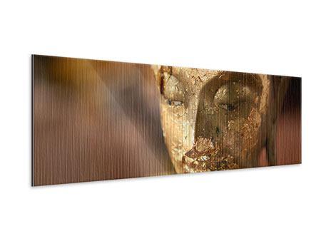 Metallic-Bild Panorama Kopf eines Buddhas