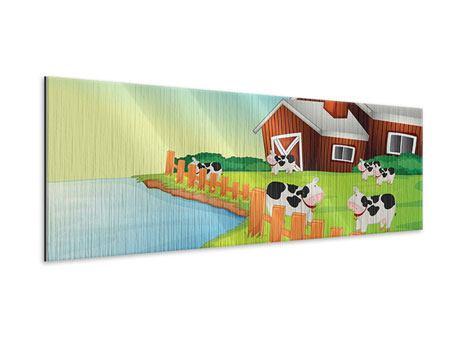 Metallic-Bild Panorama Eine Kuh macht Muh