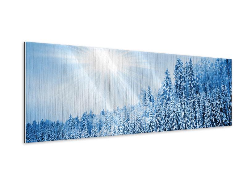 Metallic-Bild Panorama Wintermärchen