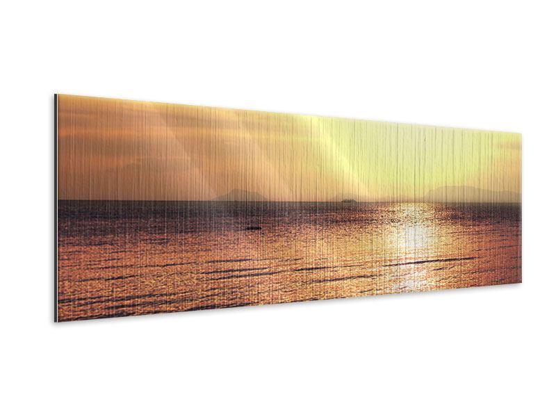 Metallic-Bild Panorama Sonnenuntergang an der See