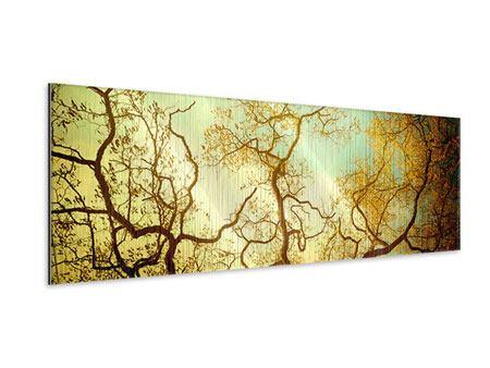Metallic-Bild Panorama Bäume im Herbst