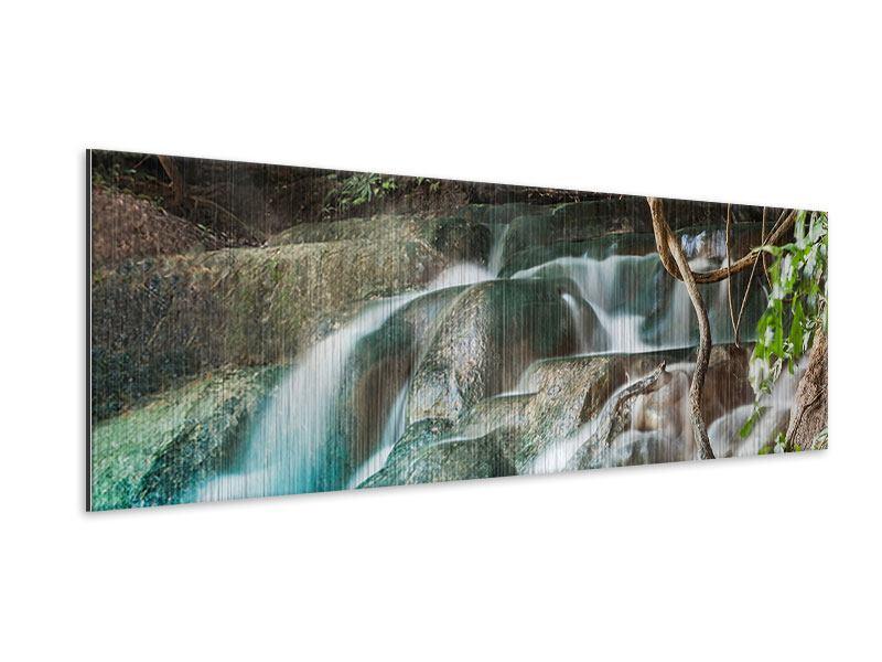 Metallic-Bild Panorama Am Fluss des Lebens