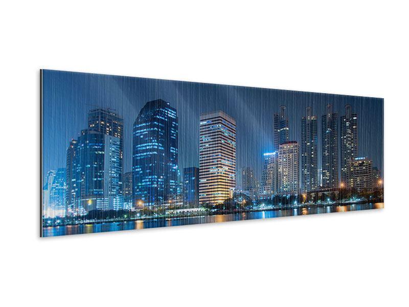 Metallic-Bild Panorama Skyline Bangkok bei Nacht
