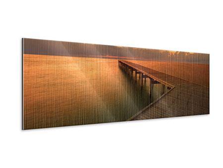 Metallic-Bild Panorama Der Steg am Meer