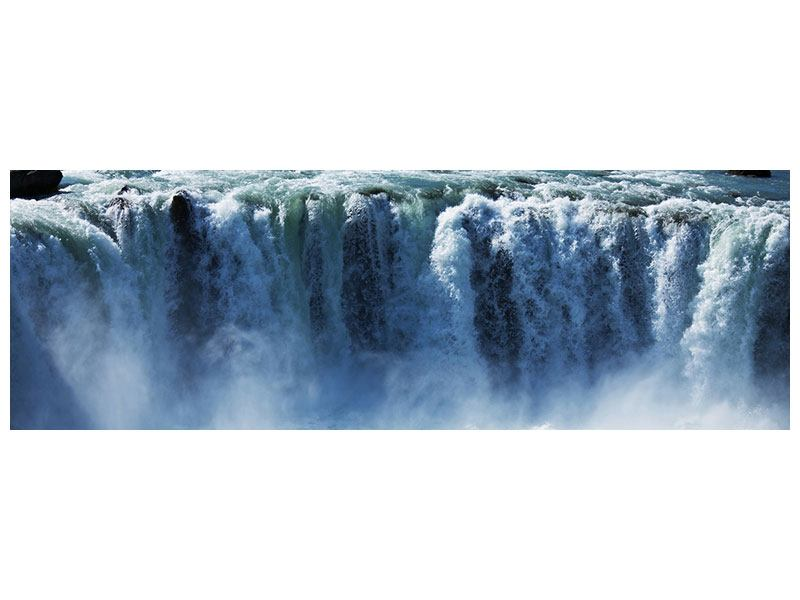 Metallic-Bild Panorama Mächtiger Wasserfall