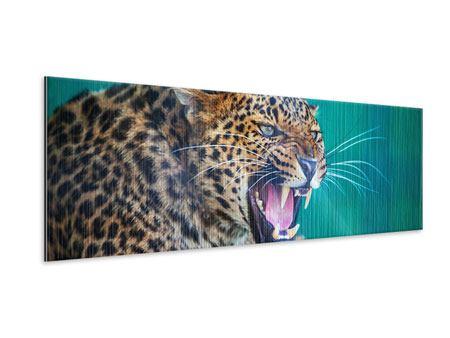 Metallic-Bild Panorama Achtung Leopard