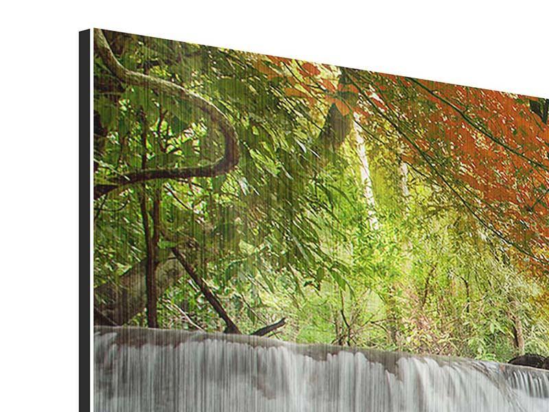 Metallic-Bild Panorama Erawan Wasserfall