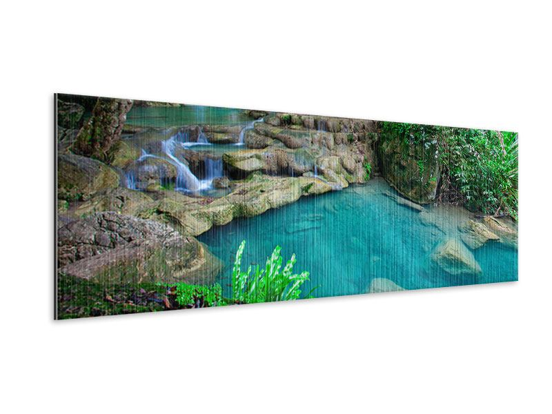 Metallic-Bild Panorama Am Fusse von Erawan