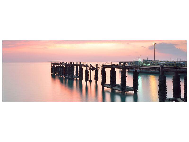 Metallic-Bild Panorama Der beruhigende Sonnenuntergang