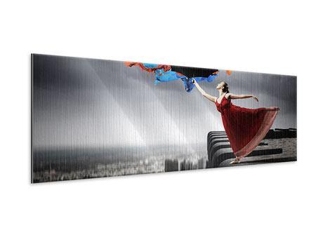 Metallic-Bild Panorama Tanz auf dem Wolkenkratzer