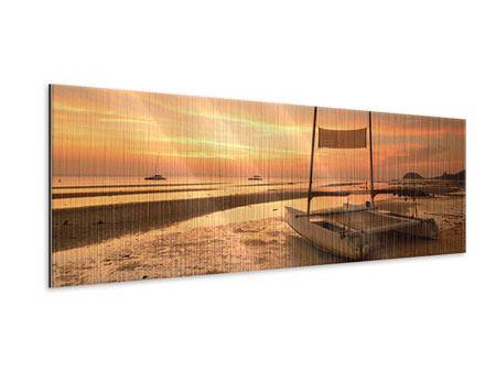 Metallic-Bild Panorama Sonnenuntergang am Strand