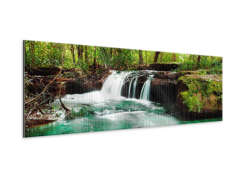 Metallic-Bild Panorama Der Fluss am Wasserfall