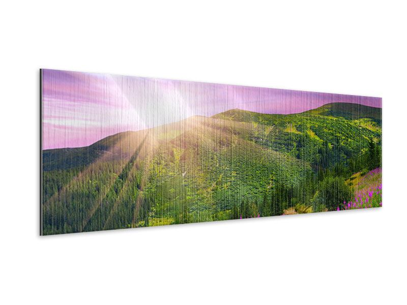 Metallic-Bild Panorama Eine Sommerlandschaft bei Sonnenaufgang