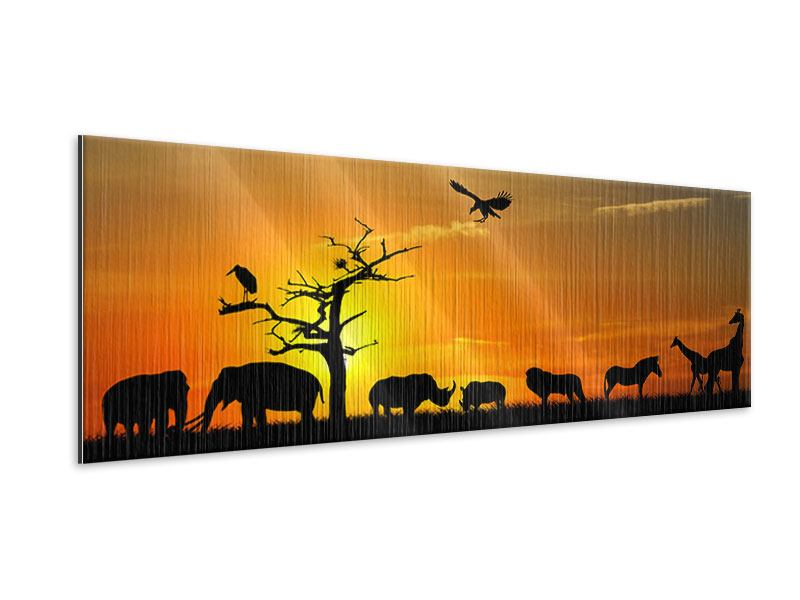 Metallic-Bild Panorama Safarietiere bei Sonnenuntergang