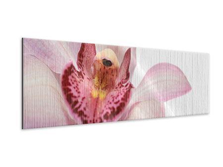 Metallic-Bild Panorama Orchideenblüte XXL