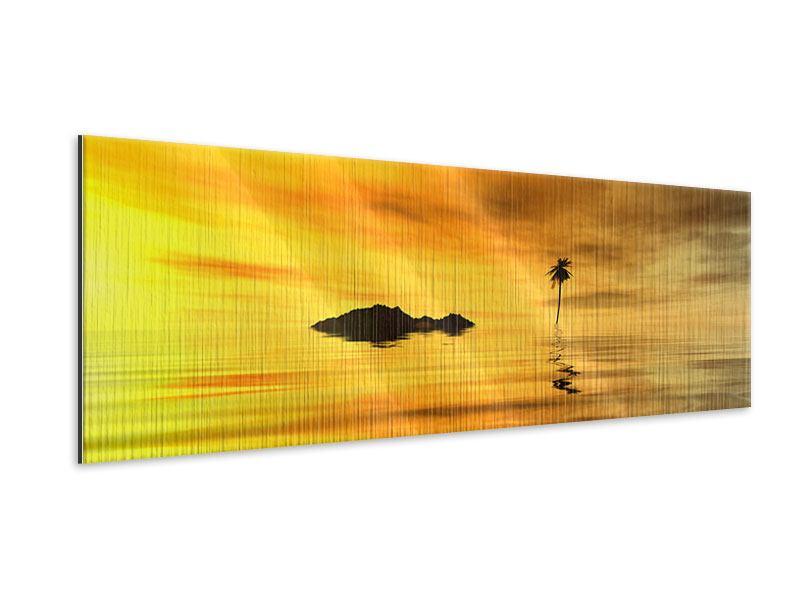 Metallic-Bild Panorama Ab auf die Insel