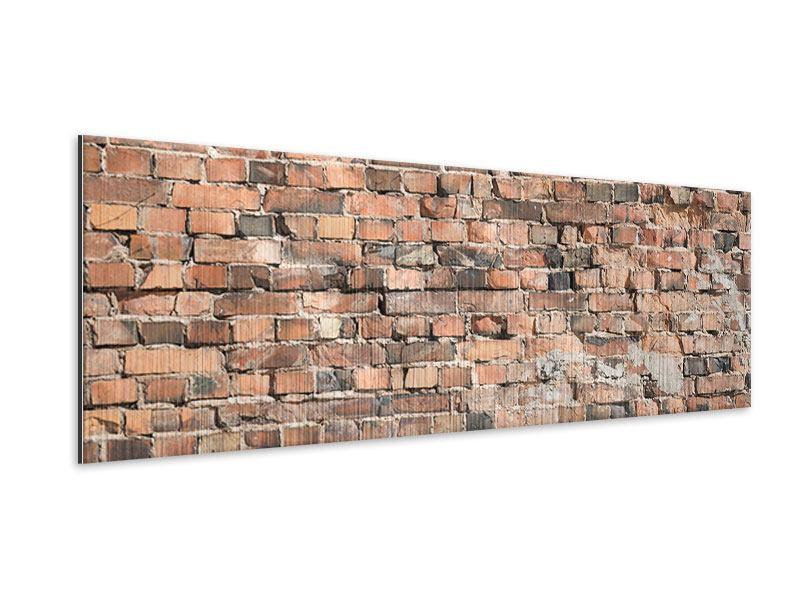 Metallic-Bild Panorama Alte Backsteinmauer