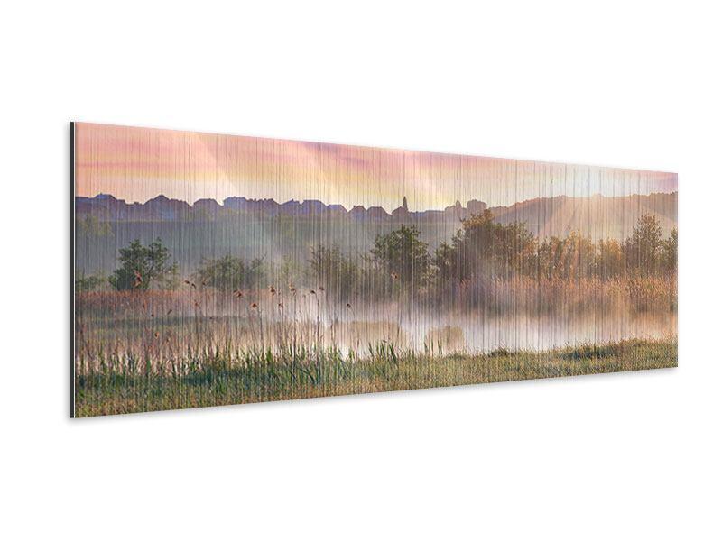 Metallic-Bild Panorama Sonnenuntergang am Hügel