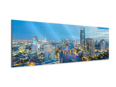 Metallic-Bild Panorama Skyline Bangkok in der Abenddämmerung