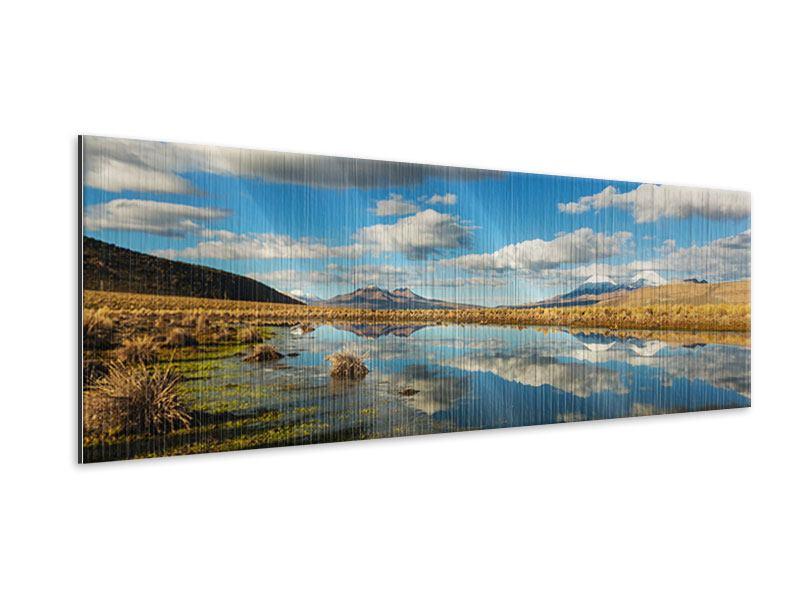 Metallic-Bild Panorama Wasserspiegelung am See