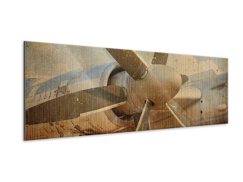 Metallic-Bild Panorama Propellerflugzeug im Grungestil