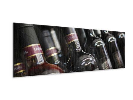 Metallic-Bild Panorama Flaschenweine