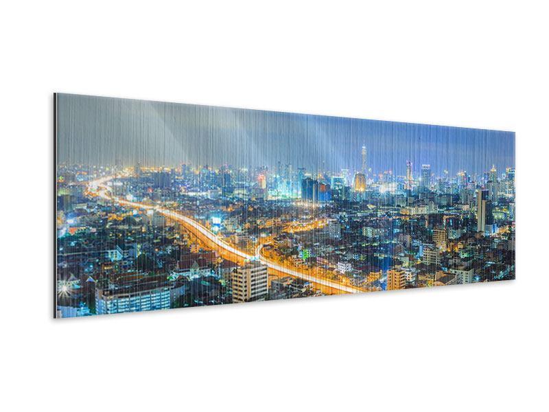 Metallic-Bild Panorama Skyline Bangkok im Fieber der Nacht