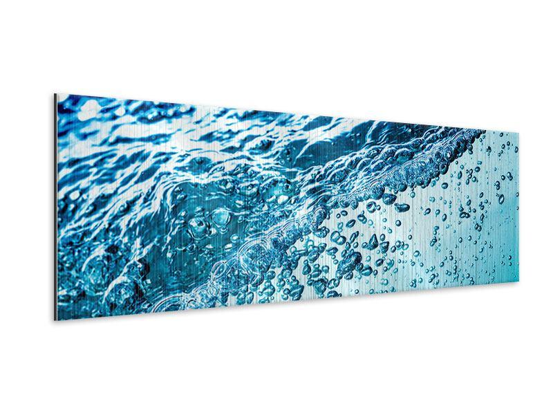 Metallic-Bild Panorama Wasser in Bewegung