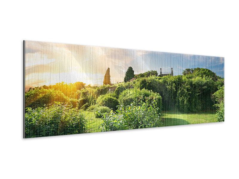 Metallic-Bild Panorama Sonnenaufgang im Park