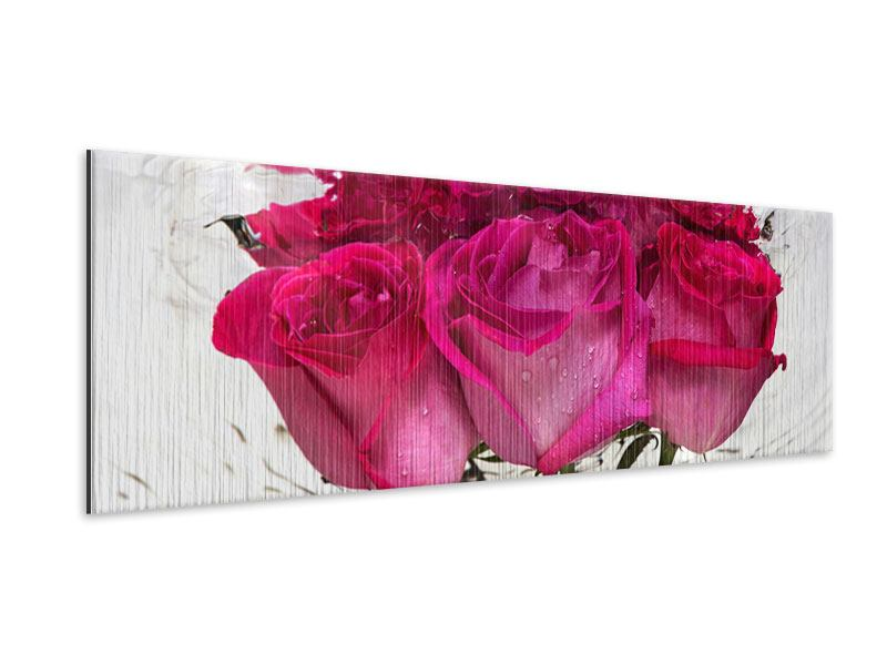 Metallic-Bild Panorama Die Rosenspiegelung