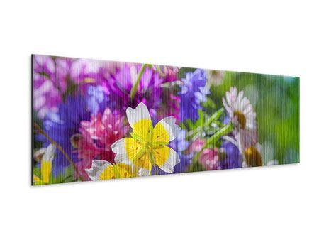 Metallic-Bild Panorama XXL Gartenblumen