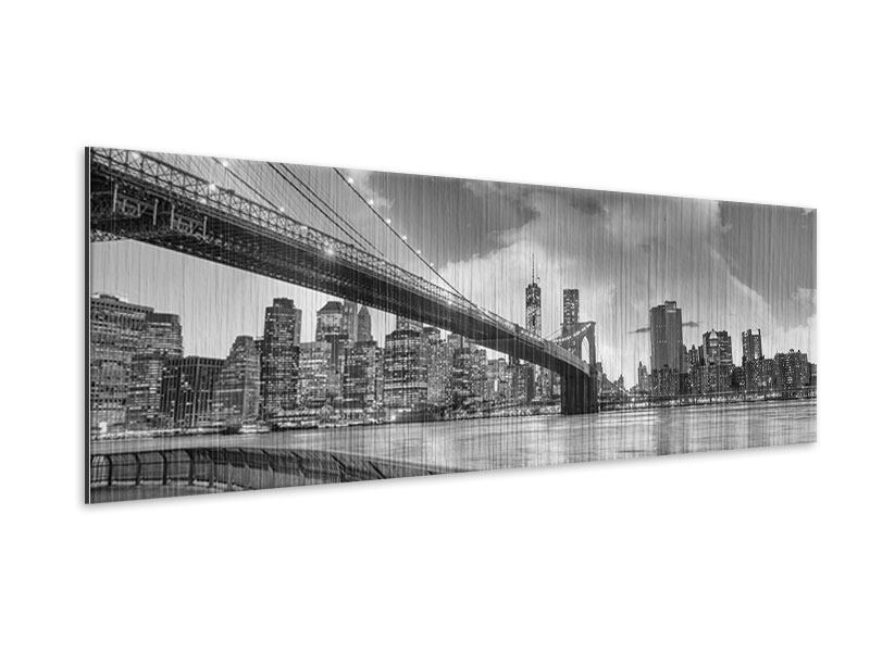 Metallic-Bild Panorama Skyline Schwarzweissfotografie Brooklyn Bridge NY