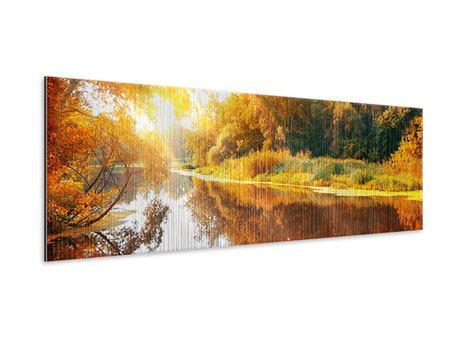 Metallic-Bild Panorama Waldspiegelung im Wasser