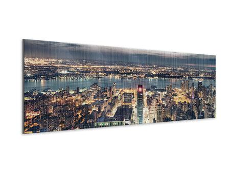 Metallic-Bild Panorama Skyline Manhattan Citylights