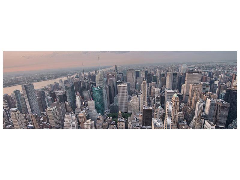 Metallic-Bild Panorama Skyline Blick über Manhattan