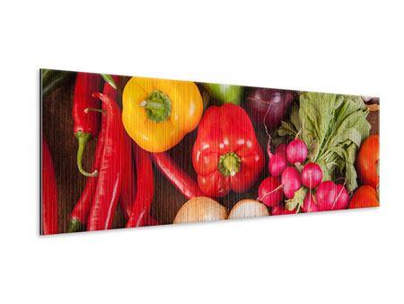 Metallic-Bild Panorama Gemüsefrische