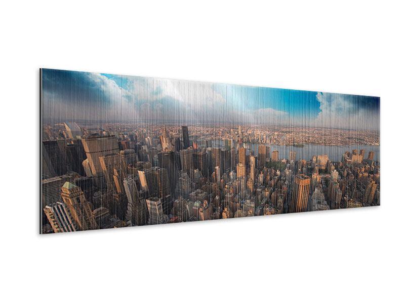 Metallic-Bild Panorama Skyline Über den Dächern von Manhattan