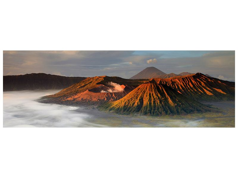 Metallic-Bild Panorama Der Bromo Vulkan