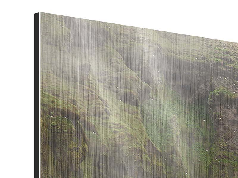 Metallic-Bild Panorama Skogafoss