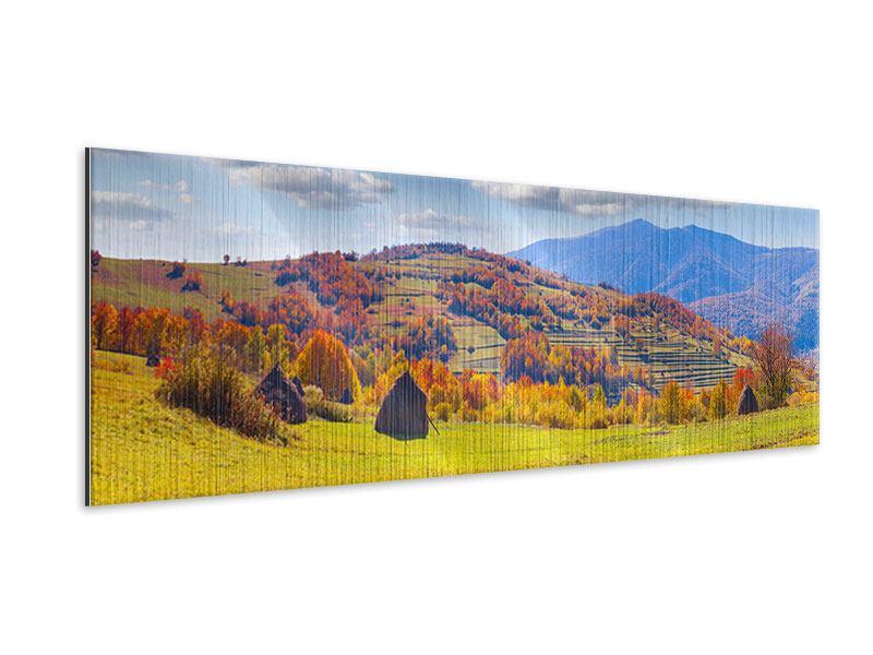 Metallic-Bild Panorama Herbstliche Berglandschaft