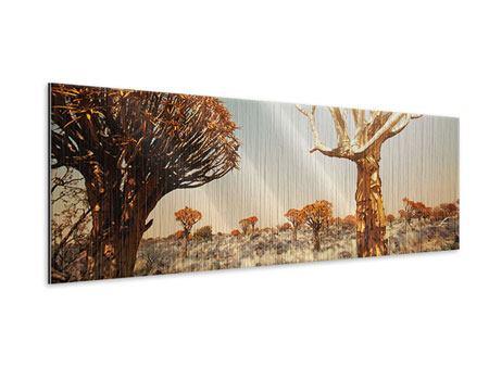 Metallic-Bild Panorama Afrikanische Landschaft