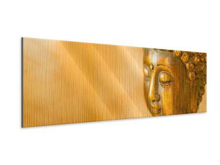 Metallic-Bild Panorama Buddha Kopf
