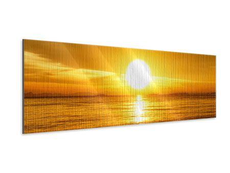 Metallic-Bild Panorama Traumhafter Sonnenuntergang