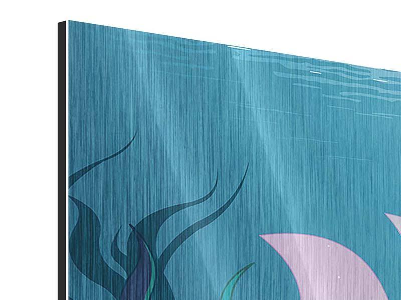 Metallic-Bild Panorama Die Meerjungfrau