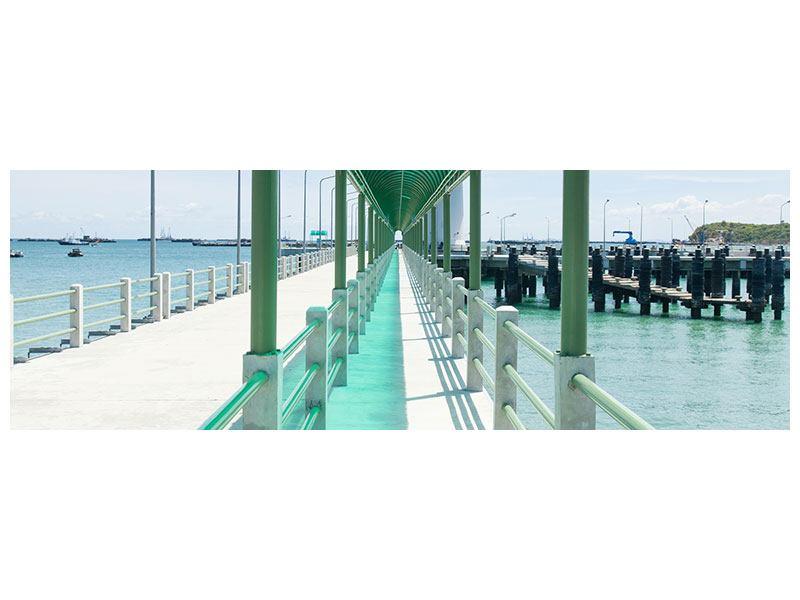 Metallic-Bild Panorama Die Brücke am Meer