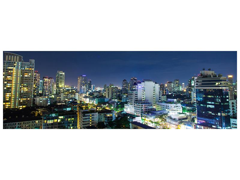 Metallic-Bild Panorama Skyline Nachts in Bangkok